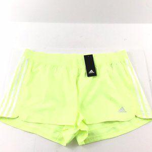Adidas Women Shorts XL Neon Yellow Woven Pacer New